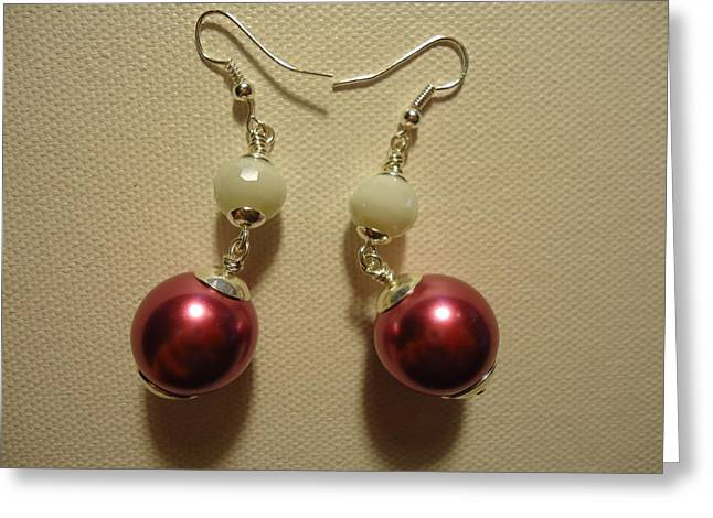 Pink and White Ball Drop Earrings Greeting Card by Jenna Green