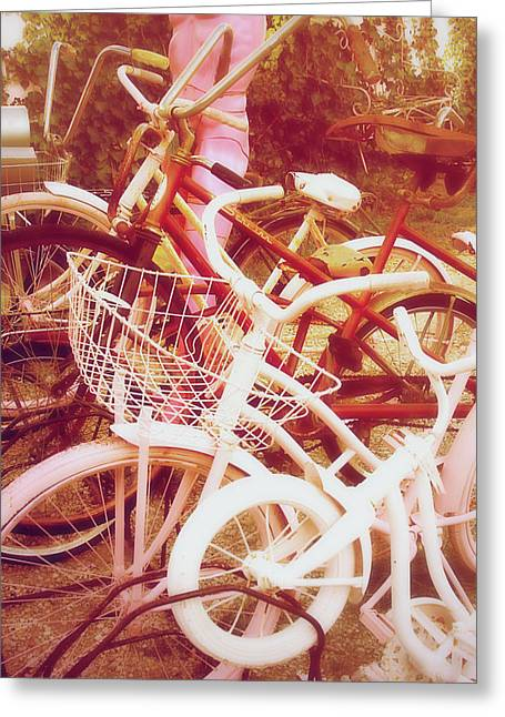 Found-object Greeting Cards - Pink and white bikes Greeting Card by Toni Hopper