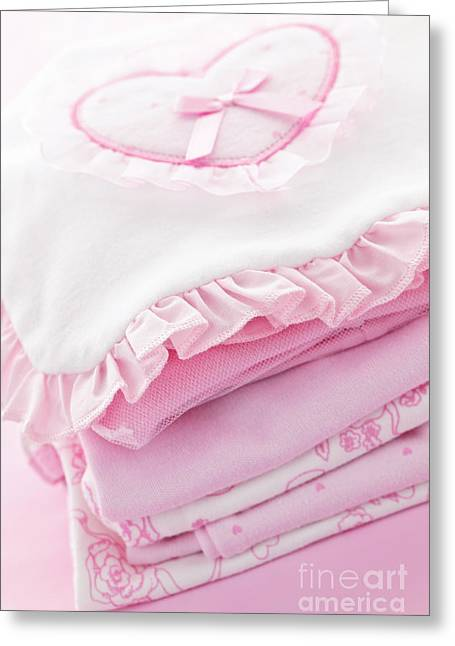 Stack Greeting Cards - Pink baby clothes for infant girl Greeting Card by Elena Elisseeva