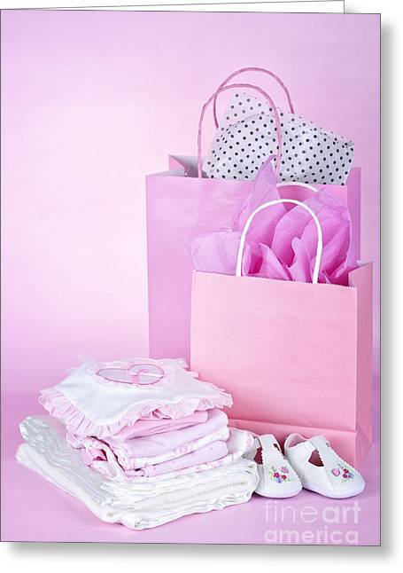 Blanket Photographs Greeting Cards - Pink baby shower presents Greeting Card by Elena Elisseeva