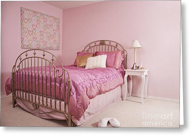Bedside Table Greeting Cards - Pink Bedroom Interior Greeting Card by Jetta Productions, Inc