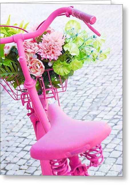 Handle Bar Greeting Cards - Pink Bicycle Greeting Card by Carlos Caetano