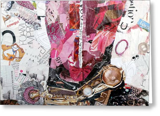 Torn Paintings Greeting Cards - Pink Boot 2 Greeting Card by Suzy Pal Powell