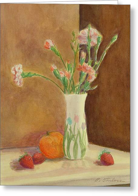Interior Still Life Paintings Greeting Cards - Pink Carnations and Fruit Greeting Card by Phyllis Tarlow