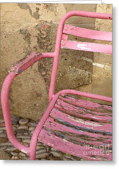 Lainie Wrightson Greeting Cards - Pink Chair Greeting Card by Lainie Wrightson