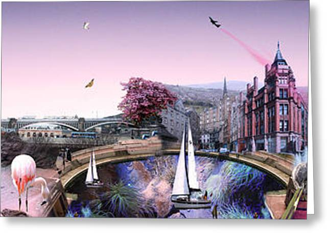 Floral Digital Art Digital Art Greeting Cards - Pink City Greeting Card by Emily Campbell