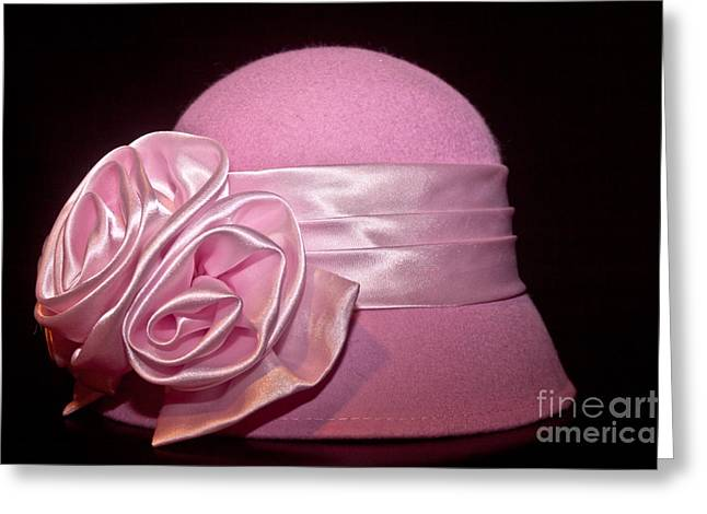 Cloche Hat Greeting Cards - Pink Cloche Hat Greeting Card by Jill Smith