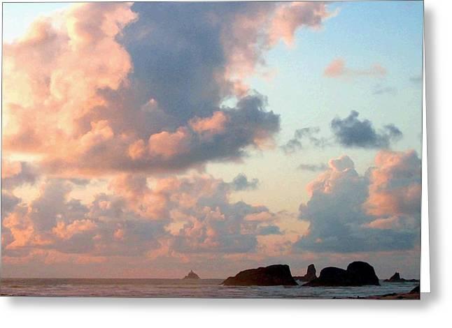 Tillamook Lighthouse Greeting Cards - Pink Clouds Over Tillamook Greeting Card by Will Borden