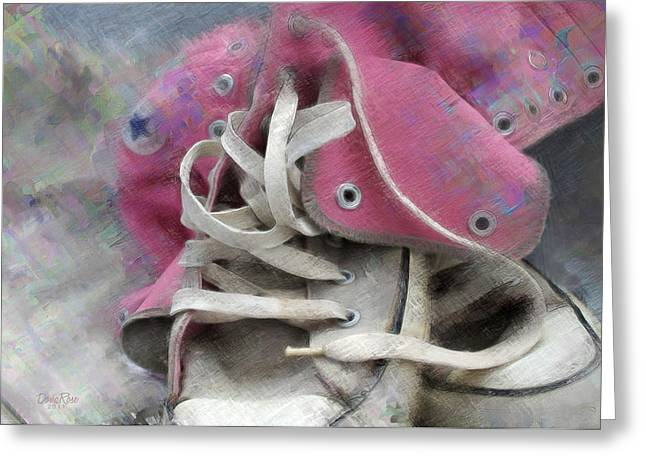 High Top Tennis Shoes Greeting Cards - Pink Converse High Tops Greeting Card by   DonaRose