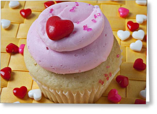 Pink cupcake with candy hearts Greeting Card by Garry Gay