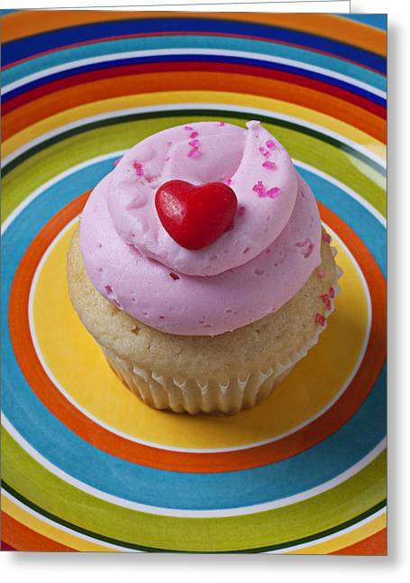 Cupcakes Greeting Cards - Pink cupcake with red heart Greeting Card by Garry Gay