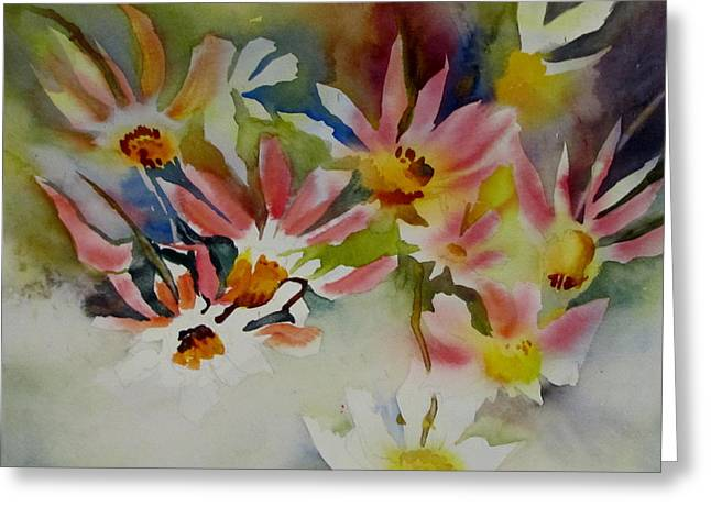 Wet In Wet Watercolor Greeting Cards - Pink Daisies Greeting Card by Carole Johnson