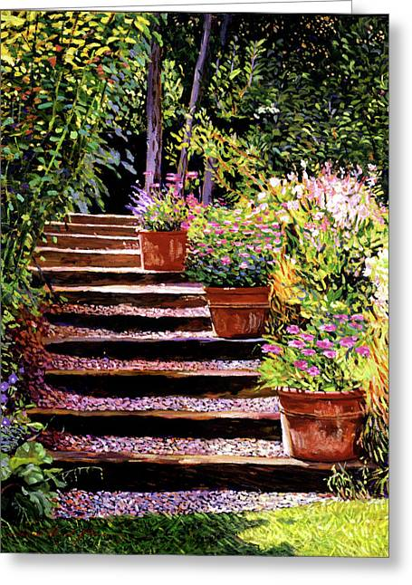 Most Paintings Greeting Cards - Pink Daisies Wooden Steps Greeting Card by David Lloyd Glover