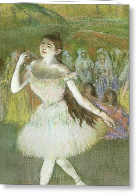 Ballerinas Pastels Greeting Cards - Pink Dancer  Greeting Card by Edgar Degas