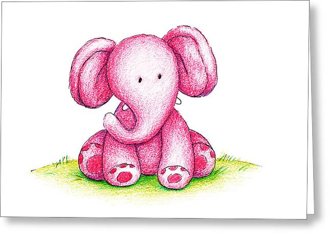 Doll Drawings Greeting Cards - Pink Elephant On A Green Lawn Greeting Card by Anna Abramska