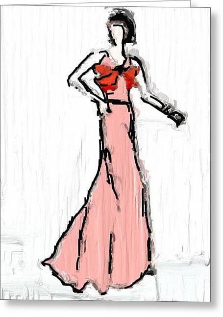 Evening Dress Drawings Greeting Cards - Pink evening dress Greeting Card by Mira Dimitrijevic