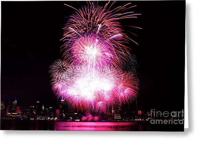 Independance Day Greeting Cards - Pink Fireworks At NYC Greeting Card by Archana Doddi