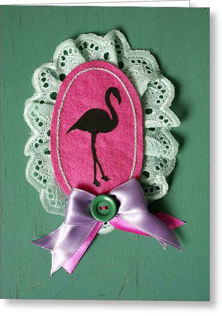 Jewellery Jewelry Greeting Cards - Pink Flamingo  Greeting Card by Janina Aberg