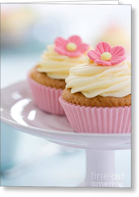 Tea Party Greeting Cards - Pink flower cupcakes Greeting Card by Ruth Black