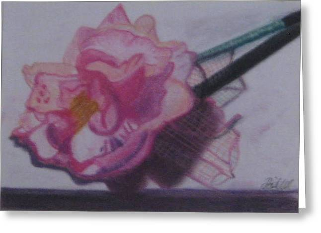 Netting Pastels Greeting Cards - Pink Flower Pen Greeting Card by Philippa Tisdell