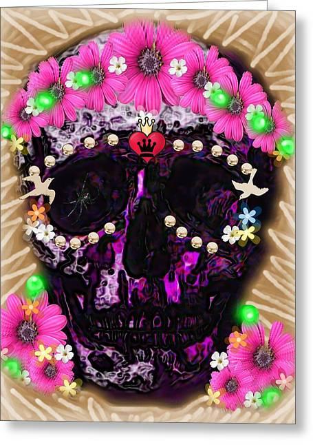 Birds Greeting Cards - Pink Flower Sugar Skull Greeting Card by Tisha McGee