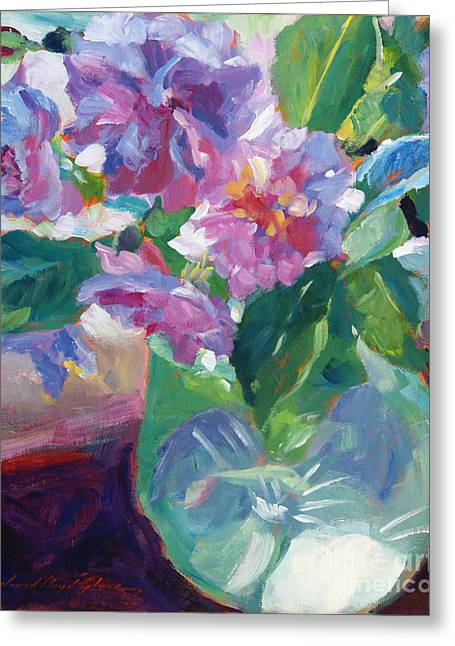 Pink Flowers In Green Glass Greeting Card by David Lloyd Glover