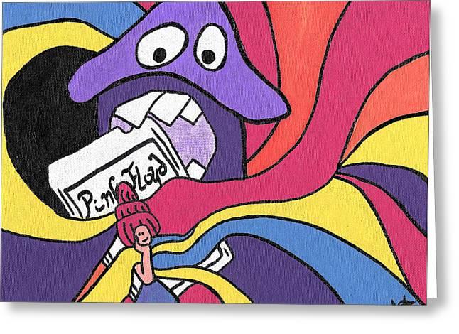 Purple Mushroom Greeting Cards - Pink Floyd 8 Track Trip Greeting Card by Jera Sky