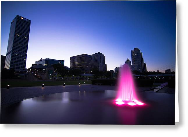 Pink Fountain Greeting Card by Jonah  Anderson