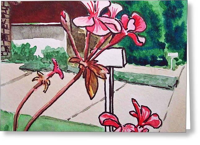 Pink Geranium Sketchbook Project Down My Street Greeting Card by Irina Sztukowski