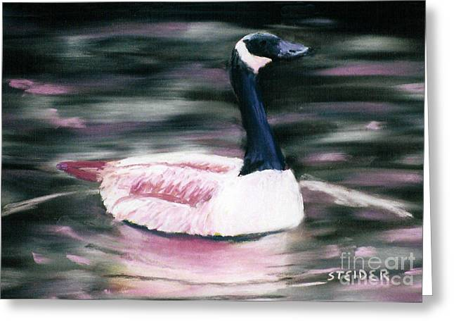Pacific Northwest Pastels Greeting Cards - Pink Goose Greeting Card by Linda Steider
