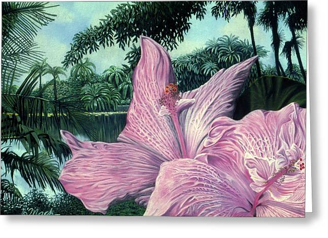Fauna Pastels Greeting Cards - Pink Hibiscus-Fairchild Gardens Greeting Card by Stephen Mack