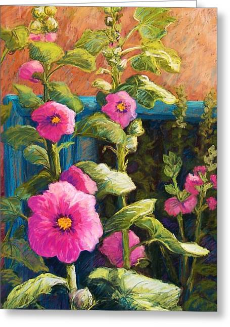 Blue Flowers Pastels Greeting Cards - Pink Hollyhocks Greeting Card by Candy Mayer