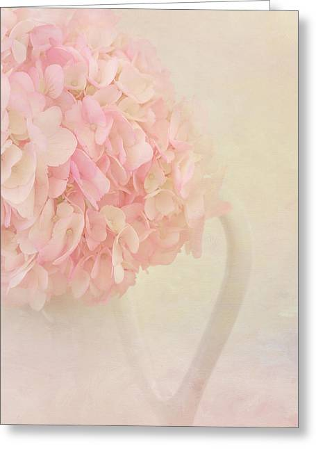 Botanical Greeting Cards - Pink Hydrangea Flowers in White Vase Greeting Card by Kim Hojnacki