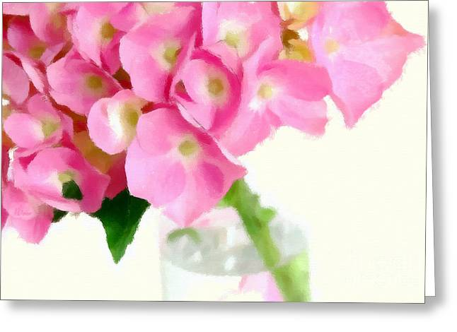 Pink Hydrangea In A Glass Vase Greeting Card by Anne Kitzman