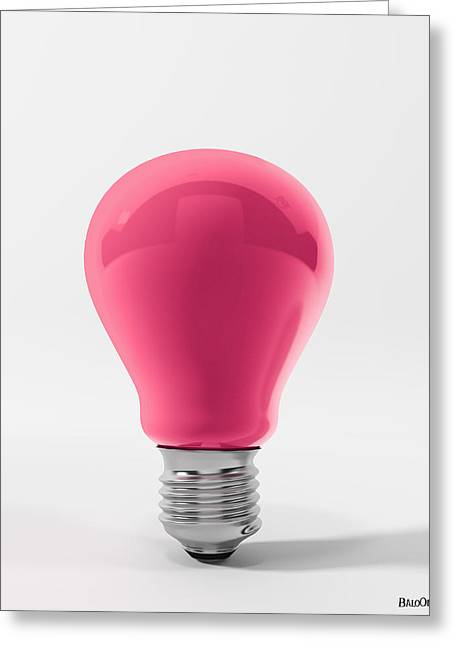 Boxe Greeting Cards - Pink Lamp Greeting Card by BaloOm Studios