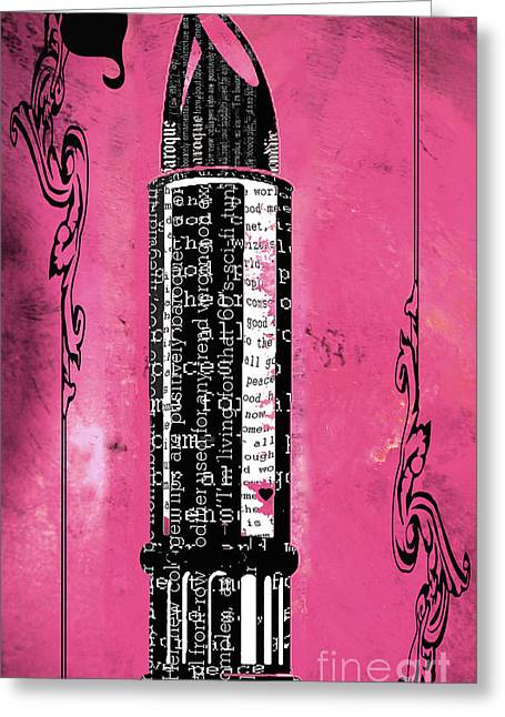 Advertising Mixed Media Greeting Cards - Pink Lipstick Writing Print Greeting Card by ArtyZen Home