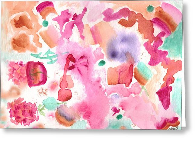 Pink Love Greeting Card by Paula Ayers