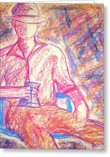 Stein Drawings Greeting Cards - Pink Man Greeting Card by Cathie Richardson