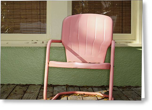 Empty Chairs Greeting Cards - Pink Metal Chair on a Porch Greeting Card by Skip Nall