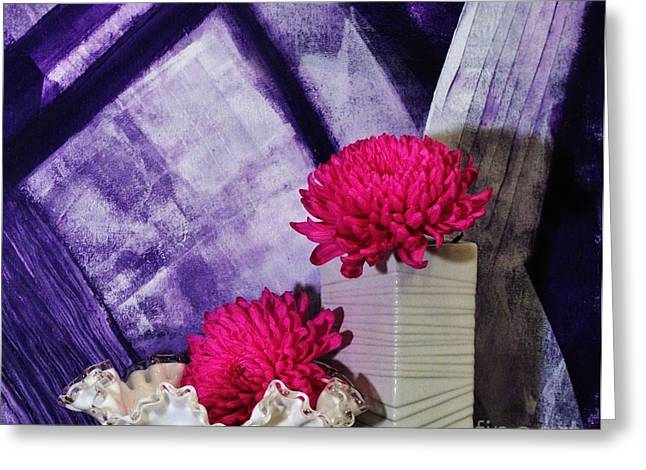 Backboards Greeting Cards - Pink Mums on Purple Greeting Card by Marsha Heiken