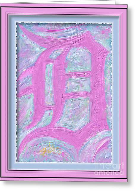 Pink Old English D Framed Greeting Card by Donald Pavlica