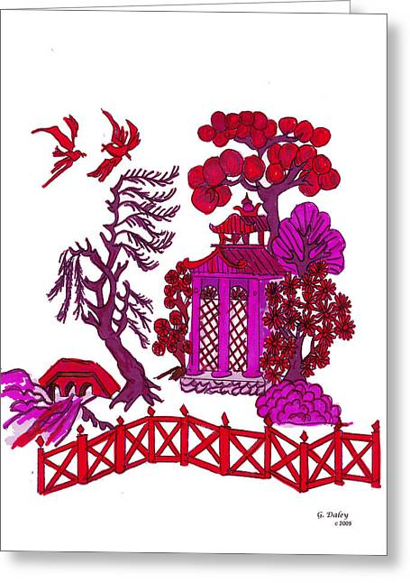 Pink Pagoda Greeting Card by Gail Daley