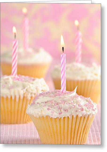 Frosting Greeting Cards - Pink Party Cupcakes Greeting Card by Amanda And Christopher Elwell