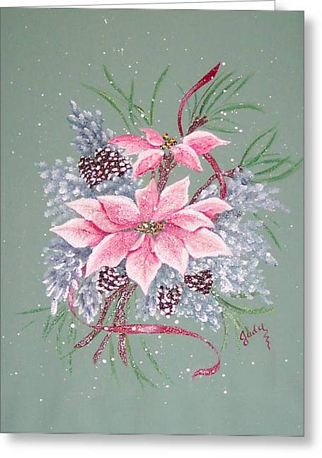Pine Cones Paintings Greeting Cards - Pink Poinsettia with Pine Cones Greeting Card by Judy Moses
