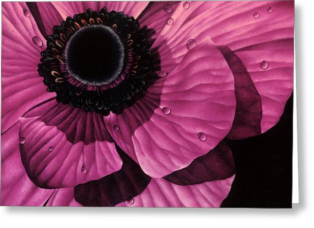 Hyper-realism Paintings Greeting Cards - Pink Poppy Greeting Card by Linda Hoard