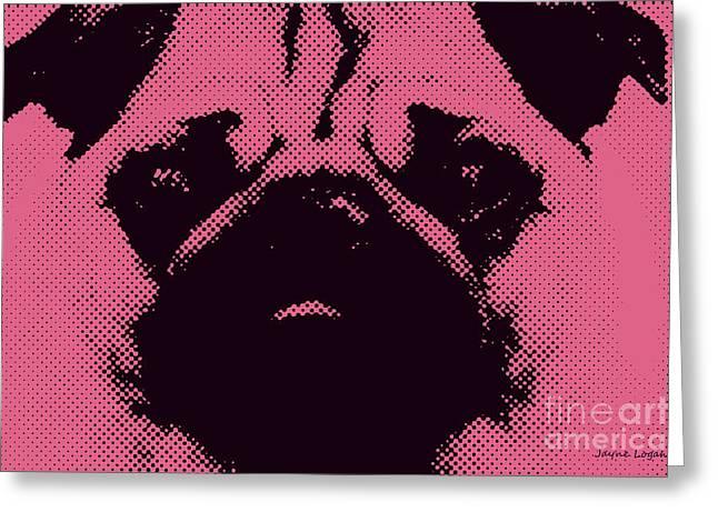 Pug Framed Prints Greeting Cards - Pink Pug Greeting Card by Jayne Logan Intveld