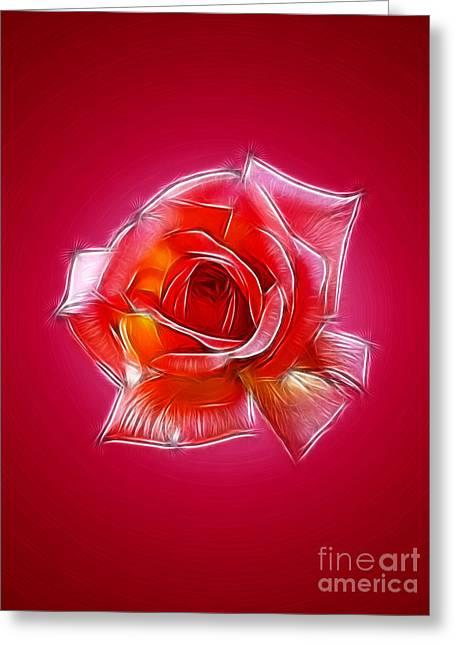 Www.picsl8.co.uk Greeting Cards - Pink rose fractal Greeting Card by Steev Stamford