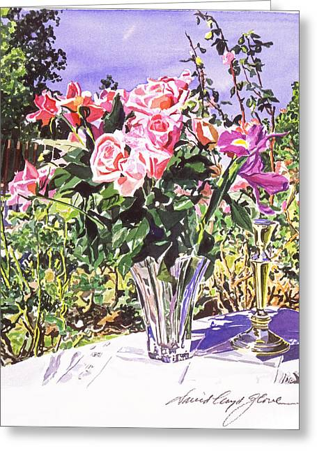 Flower Setting Greeting Cards - Pink Roses in Crystal Vase Greeting Card by David Lloyd Glover
