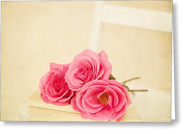 Kim Fearheiley Photograph Greeting Cards - Pink Roses Laying on a Book Greeting Card by Kim Fearheiley