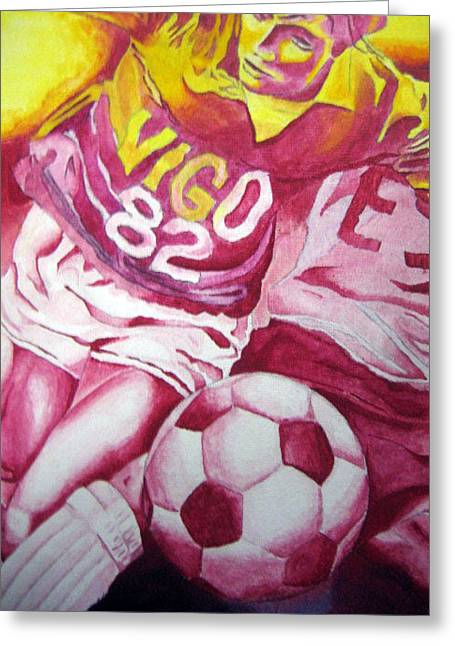 Pink Soccer Greeting Card by Carlos Velasquez Art